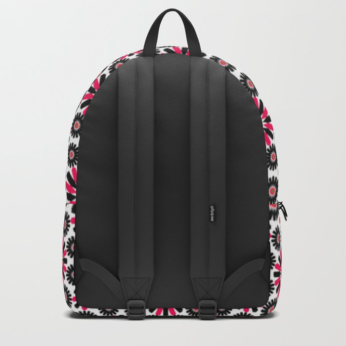 Small Hot Pink and Black Flowers Backpack