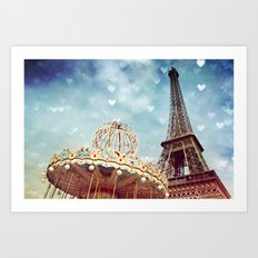 Carnival Paris -The Eiffel Tower & The Carousel  Art Print