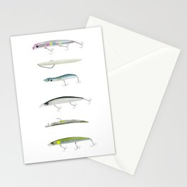 Realistic fishing lures Stationery Cards