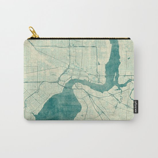Jacksonville Map Blue Vintage Carry-All Pouch