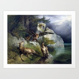 Friedrich Gauermann Adler and Dying Stag Lakefront Art Print