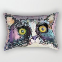 Big eyed tuxedo cat Rectangular Pillow