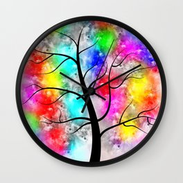 Colorful tree of life Wall Clock
