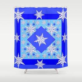 DECORATIVE BABY BLUE SNOW CRYSTALS BLUE WINTER ART Shower Curtain