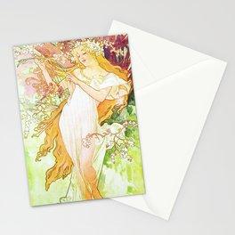 Alphonse Mucha Spring Floral Vintage Art Nouveau Stationery Cards