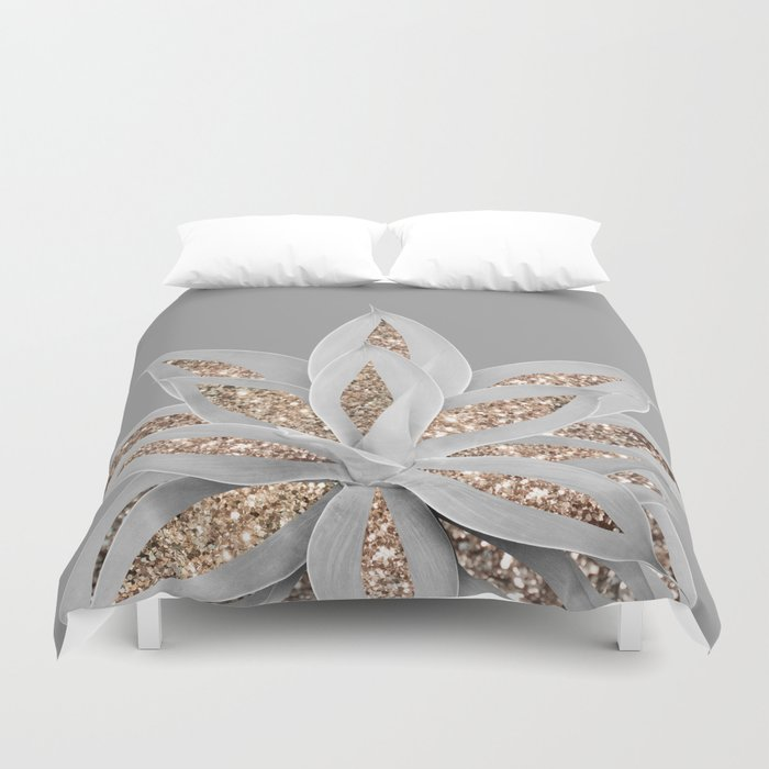 Gray Agave with Gold Glitter #1 #shiny #tropical #decor #art #society6 Duvet Cover