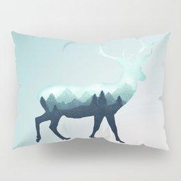 Deer Stag Elk Roe Fawn Moose Double Exposure Surreal Wildlife Animal Pillow Sham