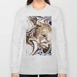 Metallic Gold Purple White Marble Swirl Long Sleeve T-shirt