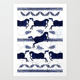 Ancient Greek Fresco - Navy Art Print
