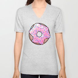Pink Donut on Black Unisex V-Neck