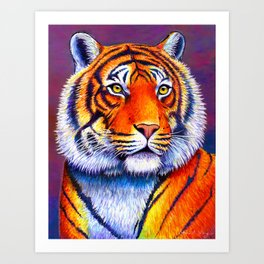 Fiery Beauty - Colorful Bengal Tiger Art Print
