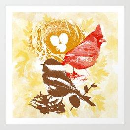 Cardinal Chickadee Pattern Art Print