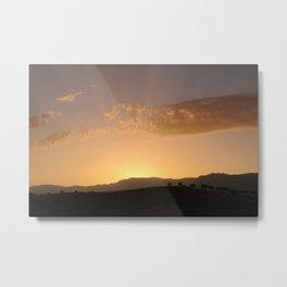 Sunbeams behind the Mountains Metal Print