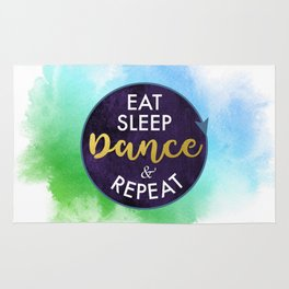 Eat Sleep Dance and Repeat faux gold foil glitter letters typography design for Dancer Rug