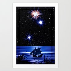 Sky, stars and the sea. Art Print