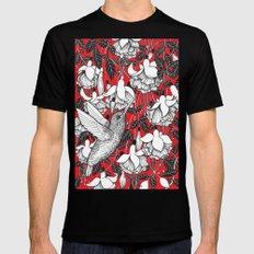 Hummingbird and fuchsia, red background Black Mens Fitted Tee MEDIUM