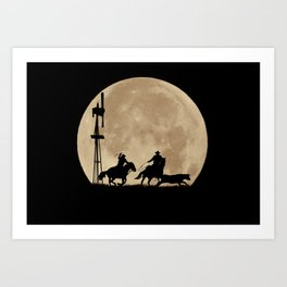 Rustler's Moon, Cowboys Roping Country Western Moon and Windmill Art Print