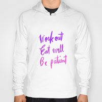 workout Hoodies featuring Neon workout quote by nneko