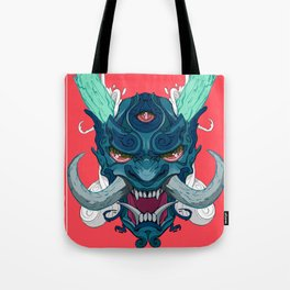 Japanese Hannya Mask Ghost Design Tote Bag