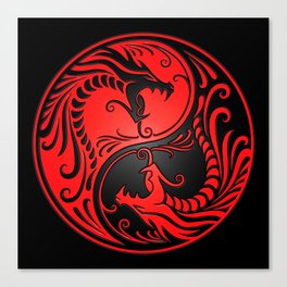 Yin Yang Dragons Red and Black Canvas Print