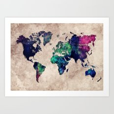 World map watercolor 1 Art Print