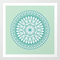 Art Print featuring Octagon Rosette 001   Mint by Aziza Iqbal