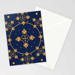 Gothic Medieval Trellis in Gold & Royal Blue Stationery Cards