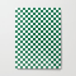 White and Cadmium Green Checkerboard Metal Print
