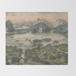 Vintage Lakes of Killarney Pictorial Map (1868) Throw Blanket