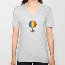 Vintage Tree of Life with Flag of Romania Unisex V-Neck