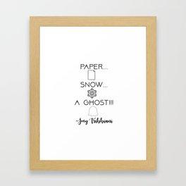 """Paper... Snow... a Ghost!!!"" - Joey Tribbiani Friends TV Show Framed Art Print"