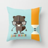 beaver Throw Pillows featuring Eager Beaver by Steph Dillon