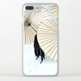 Umbrellas and Man Clear iPhone Case