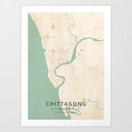 Chittagong, Bangladesh - Vintage Map Art Print
