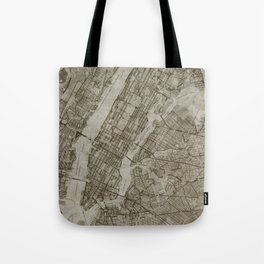 Warm Putty Beige Decor, Manhattan New York City, Antique Vintage Map Tote Bag