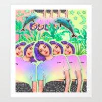 aloha Art Prints featuring Aloha by Sara Eshak