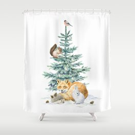 christmas tree in the forest Shower Curtain