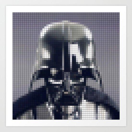 Darth Vader Helmet Bigger Pixels Art Print