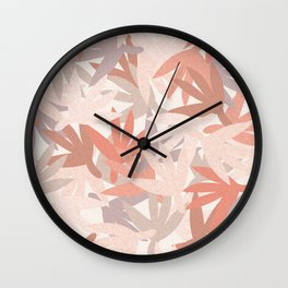 Neutral Leaves with Texture Wall Clock