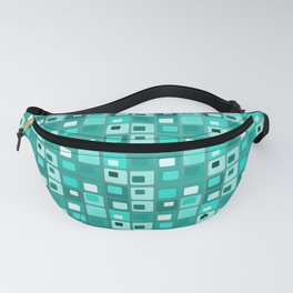 Retro Mid Century Modern Teal Square Pattern Fanny Pack