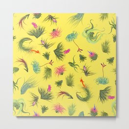 Air Plants yellow Background Metal Print