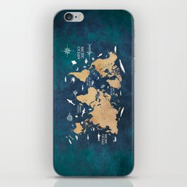 World Map Oceans Life blue #map #world iPhone Skin