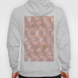 PINK CHAMPAGNE GRADIENT CUBE PATTERN (Gold Lined) Hoody