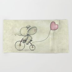 Cute Elephant riding his bike Beach Towel