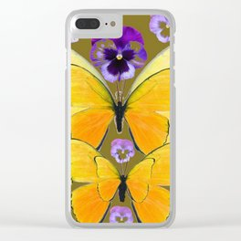 SPRING PURPLE PANSY FLOWERS & YELLOW BUTTERFLIES GARDEN Clear iPhone Case
