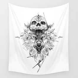 Wolf And Skull Wall Tapestry