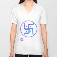 hindu V-neck T-shirts featuring Hindu Swastika by Warped Minds Apparel