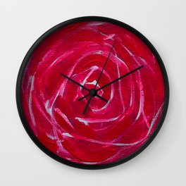 Red Rose Baby's Breath Jackie Carpenter Flower Floral Beautiful Pretty Gift Mother's Day Valentine's Wall Clock