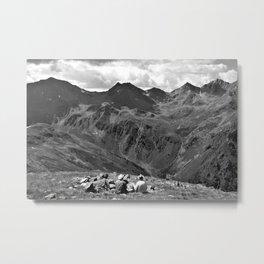zwölferkopf hiking break view alps serfaus fiss ladis tyrol austria europe black white Metal Print