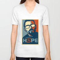 half life V-neck T-shirts featuring Half Life Hope by The Strynx